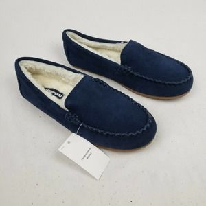 Lands' End Suede Leather Moccasin Slippers NWT